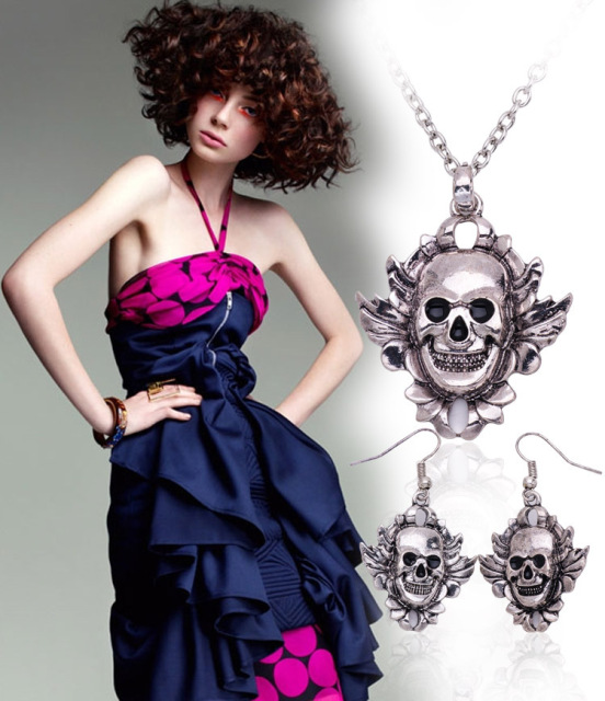 Classic Skull Shaped Necklace & Earrings Set | Halloween Jewelry