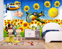 Beibehang Boy Girl Favorite Wallpaper Sunflower Flowers Beautiful Children Room Children House Murals Papel De Parede