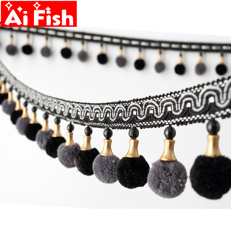 High grade European Curtain Accessories Lace Beads Velvet Wool Tassels Ball Hanging Ear Tape For Bedroom