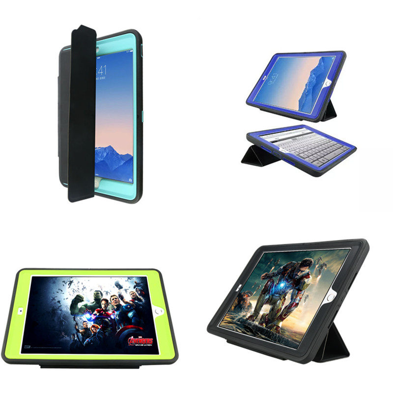 Carry Case For Apple iPad Air2 Durable 3 Layers Rugged Coque Case Shockproof Cover Armour Stand For Ipad Air 2 ipad6 for funda ipad air 2 case heavy duty pc rugged impact hybrid stand cover cases for ipad air2 ipad 6 shockproof kid case capa