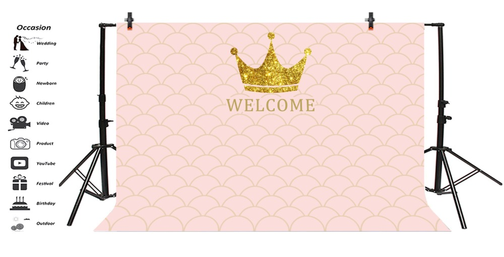 Laeacco Cartoon Crown Mermaid Scale Baby Birthday Photography Backgrounds Customized Photographic Backdrops For Photo Studio