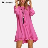 Shilanmei yaz elbise Kapalı Omuz Mini Elbise püskül Yaz Kadın Sıcak Pembe Kısa boho Plaj Elbise