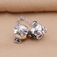 925 Sterling Silver Charms Bead Diy Bowknot Safety Chain For Original Pandora 925 Sterling Silver Bracelets Bangles XCY141