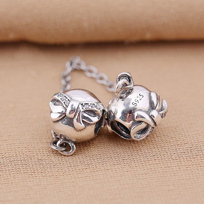 925 breloques en argent Sterling perle bricolage Bowknot chaîne de sécurité pour Original Pandora 925 Bracelets en argent Sterling Bracelets XCY141