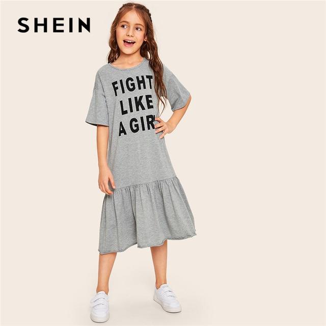 Шеин дети девочки серый письмо печати рябить подол Повседневная футболка платье Дети 2019 Лето Половина рукава воланом дети миди платья
