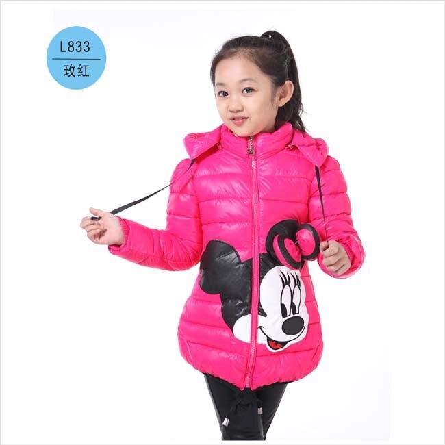 女の子冬コート子供ミニー漫画の冬のジャケットの女の子の綿長袖コート Mushi ダウン 2017 5
