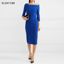 Summer office Pencil Dress Celebrity Style Fashion Pockets Knee-length Bodycon Slim Business Sheath Party Dress