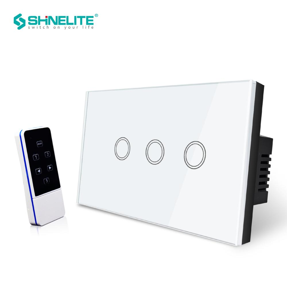 US 3 Gang 1 voie interrupteur mural smart domotique écran à distance RF433, commutateur de télécommande intelligent, verre cristal trempé blanc