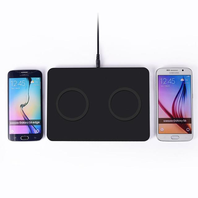 De doble canal transmisor cargador inalámbrico qi de carga pad para samsung galaxy s6 lg g4 miccrosoft lumia 640 xl google nexus 6