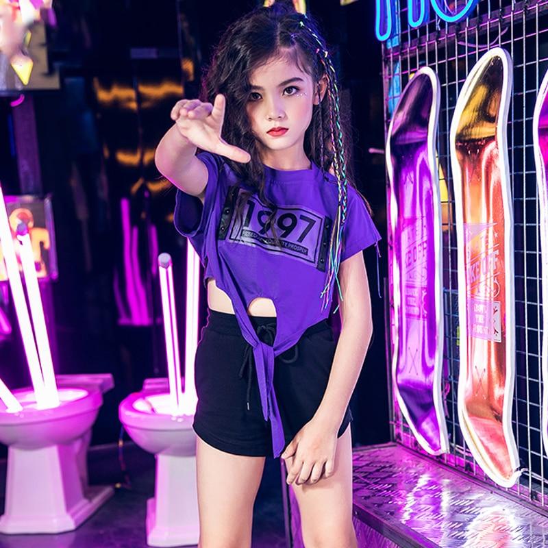 Girls Jazz Dance Costumes Purple Shirt Balck Shorts Suit Street Dance Clothes Hiphop Dance Wear Fashiong Stage Costume VDB106