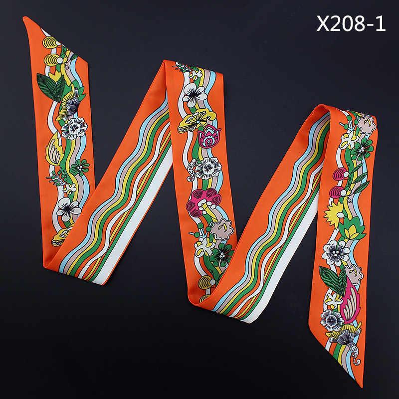120 см шелковый шарф французский цветочный волны моделирования шелковый шарф защиты от солнца ручки для сумок Для женщин тесемка, шарф-снуд на голову, хиджаб