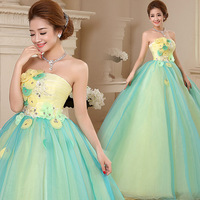 Charming Ball Gown Strapless Draped Beading Floor length 15 Years Quinceanera Dresses With Flowers