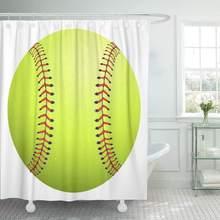 Shower Curtain With Hooks Yellow Ball Softball White Green Equipment League American Base Baseball Bat Closeup Bathroom