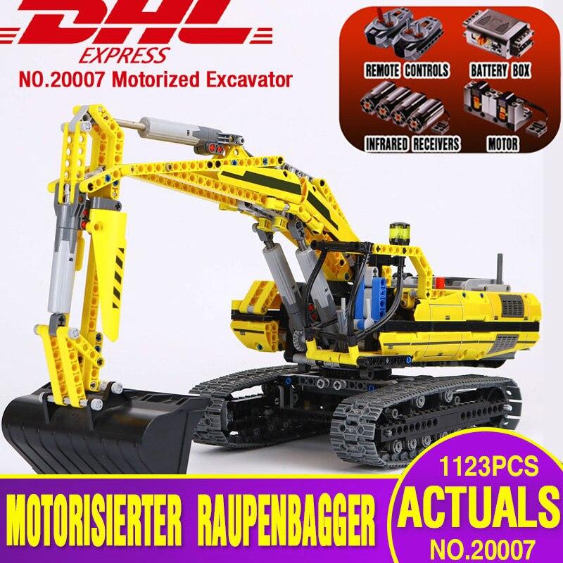 DHL 20007 Técnica de Série Do Carro Compatível Com 8043 Kit Modelo de Construção Blocos Tijolos Do Brinquedo Do Motor escavadeira Para crianças como o Presente modelo