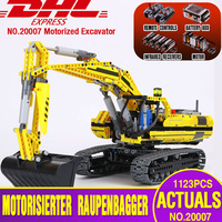 DHL LEPIN 20007 Technic series excavator Model Building Kit Blocks Brick Compatible Toy For children as Gift legoing 8043 model