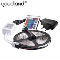 Goodland RGB HA CONDOTTO LA Luce di Striscia 2835 SMD 5 m 300 Led Flessibile Nastro di Luce IR Remote Controller 12 v 2A adattatore di alimentazione Del Nastro Del LED