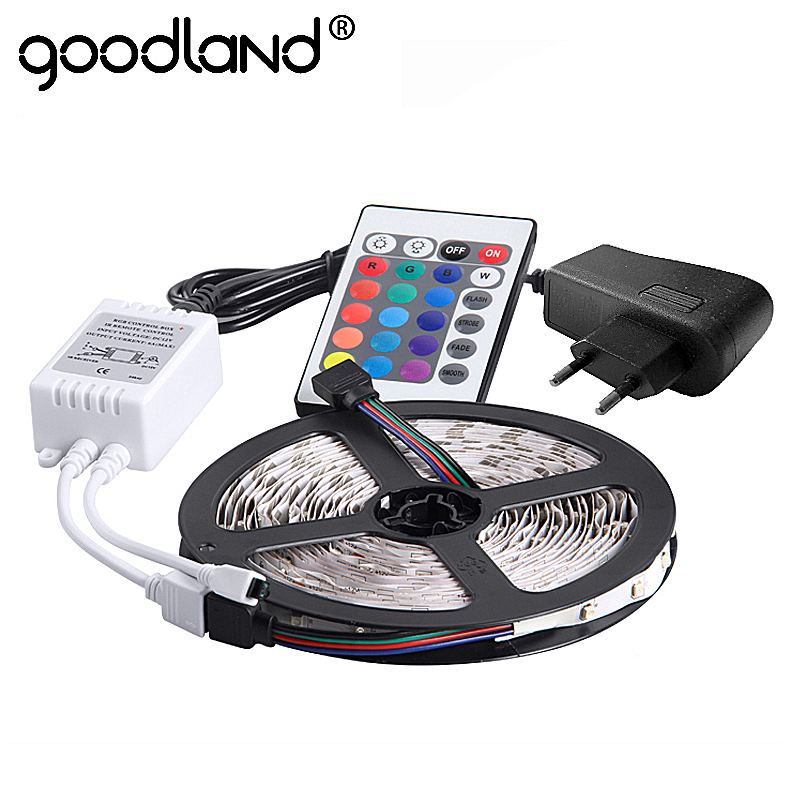 Goodland RGB LED Strip Light 2835 SMD 5M 300LEDs Flexible Light Tape IR Remote Controller 12V 2A Power Adapter LED Ribbon rgb led strip 5m 300led motorcycle 3528 smd ir remote controller 2a power adapter flexible light led tape home decoration lamps
