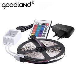 Goodland rgb led strip light 2835 smd 5 m 300 leds fita de luz flexível ir controlador remoto 12 v 2a adaptador de energia led fita