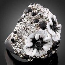 Высокое качество сплав Стразы шипованные Белый Серебро Золото Цвет красивый цветок кольцо с эмалью