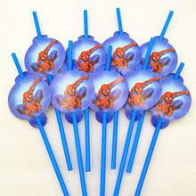 10pcs Spiderman Party Supplies Theme Decoration Disposable Tableware Drinking Straws Baby Shower Birthday Favors
