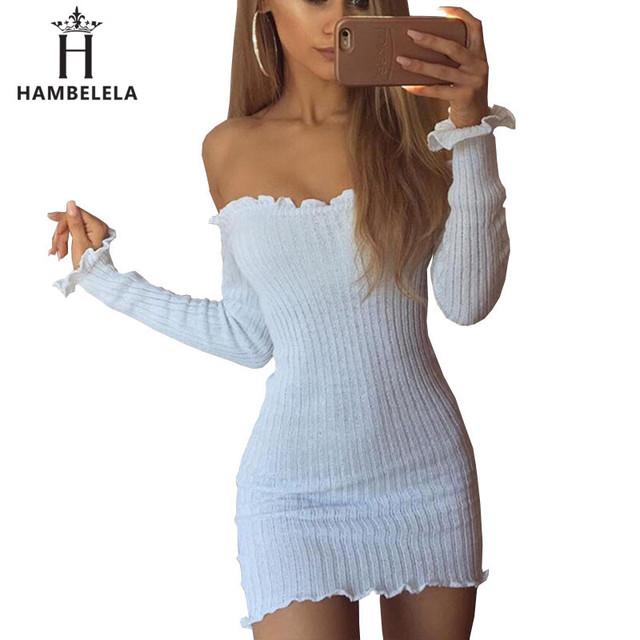 a5cb5c4f7321b Hambelela Women Autumn Ruffle Knitted Dress Off Shoulder Tunic Dress Sexy  Winter Long Sleeve Bodycon Club