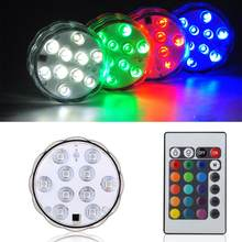 Remote controlled 10 smd RGB MultiColor Waterdicht Wedding Party Vaas submersible Bloemen led Base Light(China)