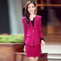 Free Shipping Women Clothes Set 2016autumn Winter New Plus Size OL Women Workwear Long Sleeve Fake