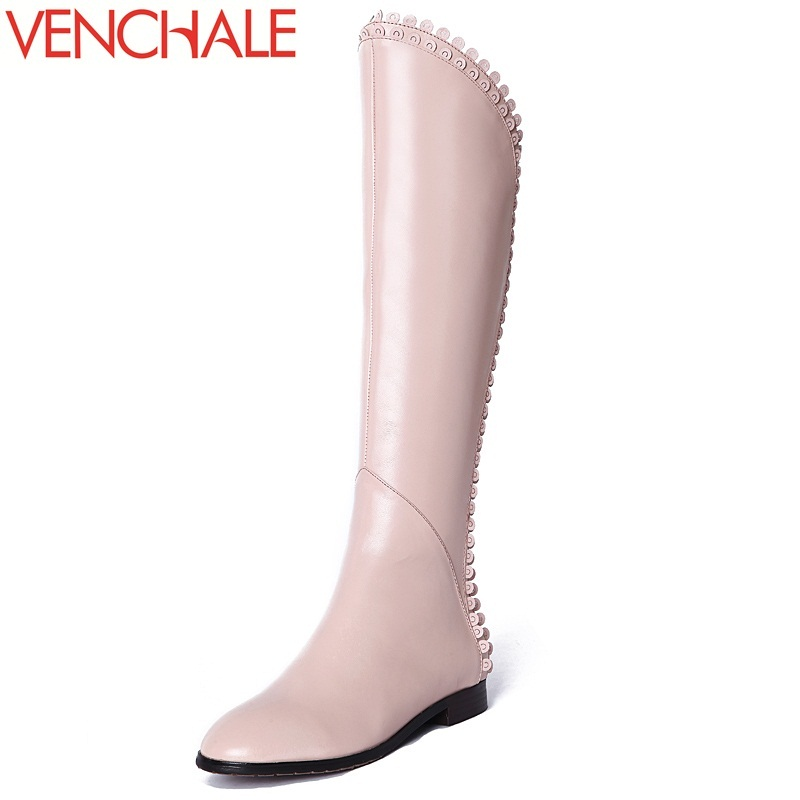 VENCHALE 2017 new knee-high boots special side zip genuine leather round toe lengthen the leg line modern princess women boots жк барселона казань купить квартиру