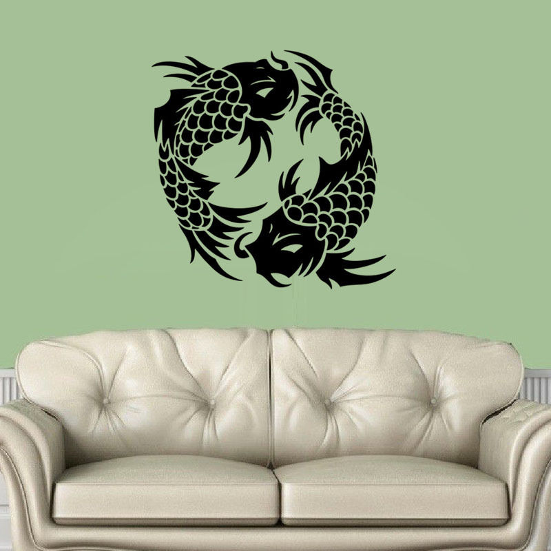 koi fish wall decal stickers vinyl living room wall decals home fish