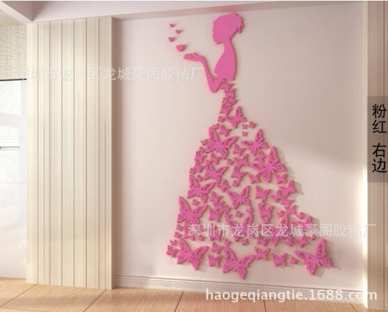 Bricolage romantique papillon robe de mariée 3D cristal stéréo stickers muraux filles chambre décoration salon stickers muraux décor à la maison - 3