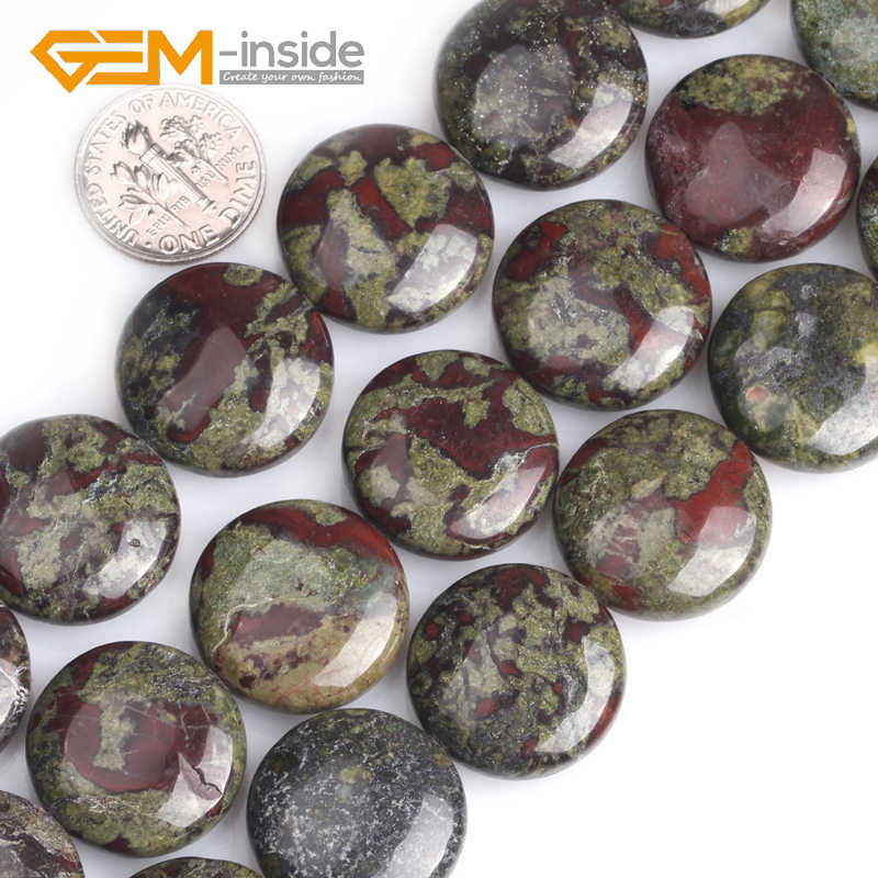 """ธรรมชาติสารพัน 20 มม.เหรียญแบนเลือดสีเขียวหิน Jaspers Tiger Eye Moss Agates ลูกปัดแบบหลวมสำหรับเครื่องประดับ DIY strand 15"""""""