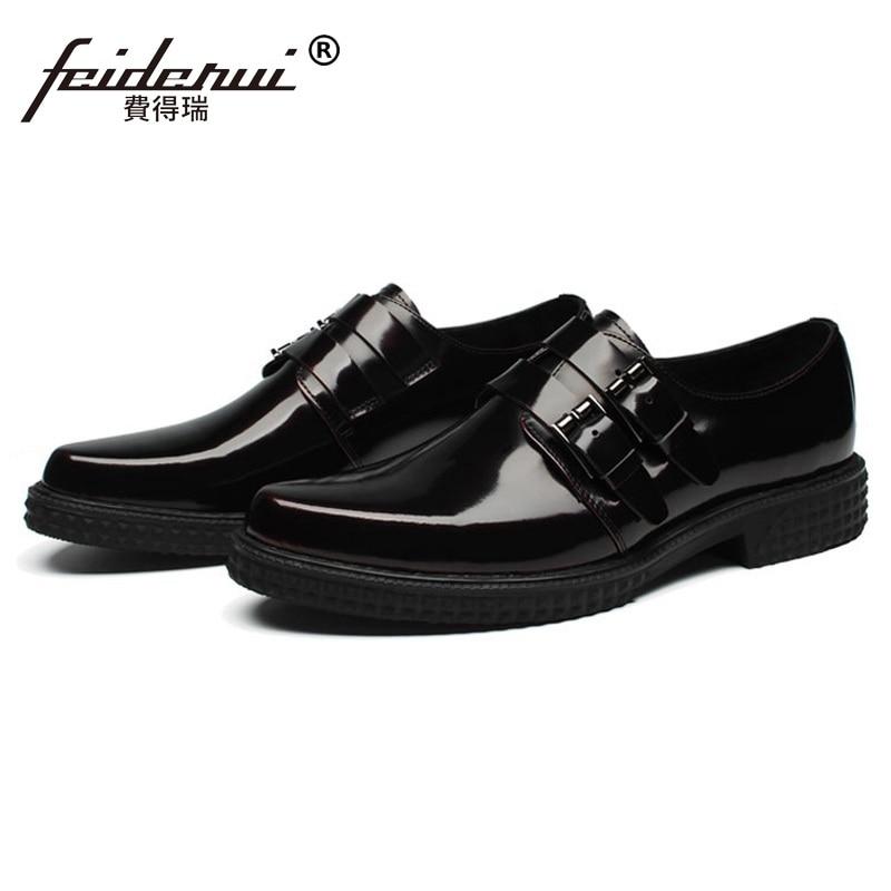 marrón Plana Mano Calzado Correa Zapatos Negro Dedo Hecho Oxfords Hombres Nupcial Plataforma Formal Puntiagudo A Hombre Hj59 Charol Monje Vestido Moda 5RAFqR