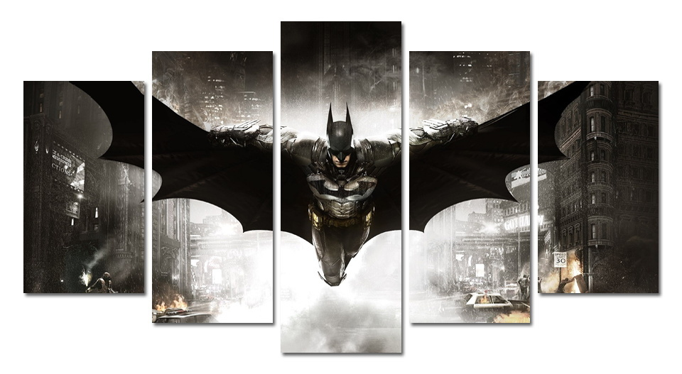 5 Rectangle Part Free Shipping Wall Canvas Painting Posters Batman Digital Image frameless