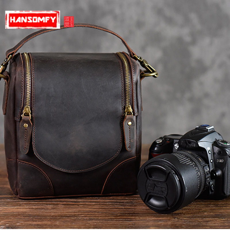 Crazy horse leather camera bag retro literary first layer leather shoulder slung men and women handbags photography bag new crazy horse leather bag travel bag men and women handbag first layer leather retro handmade shoulder diagonal