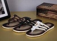 Men's Flip Flops Summer City Boys Leather Non slip Large Size Beach Shoes Trend Herringbone Slippers