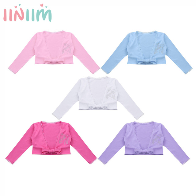 b4d06be23 Girls Outfit Clothing Classic Long Sleeve Front Knot Cotton Wrap Top Ballet  Dance Cardigan Tutu Outerwear