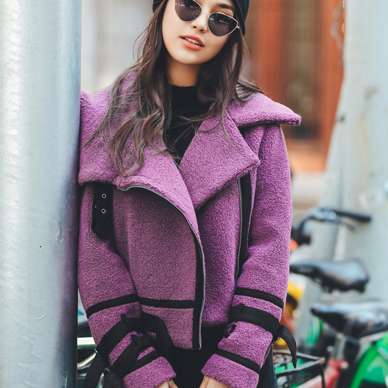 2018 Winter Europe USA Russia Winter Coat Thick Warm Slim Short Purple Splicing Zipper Turn-down Collar Women Coat Jackets YYFS