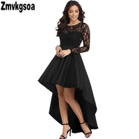 Zmvkgsoa Elegant Sexy Black Long Sleeve Lace High Low Dresses For Girls Satin Vestidos A Line