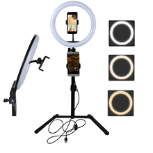 Photo Studio Selfie LED Ring Light 10 Dimmable 3200-5500K USB charge Photography Enhancing with Table Tripod for Video Live samtian 2sets led video light with tripod dimmable 3200 5500k 600 leds panel lamp for studio photo photography lighting