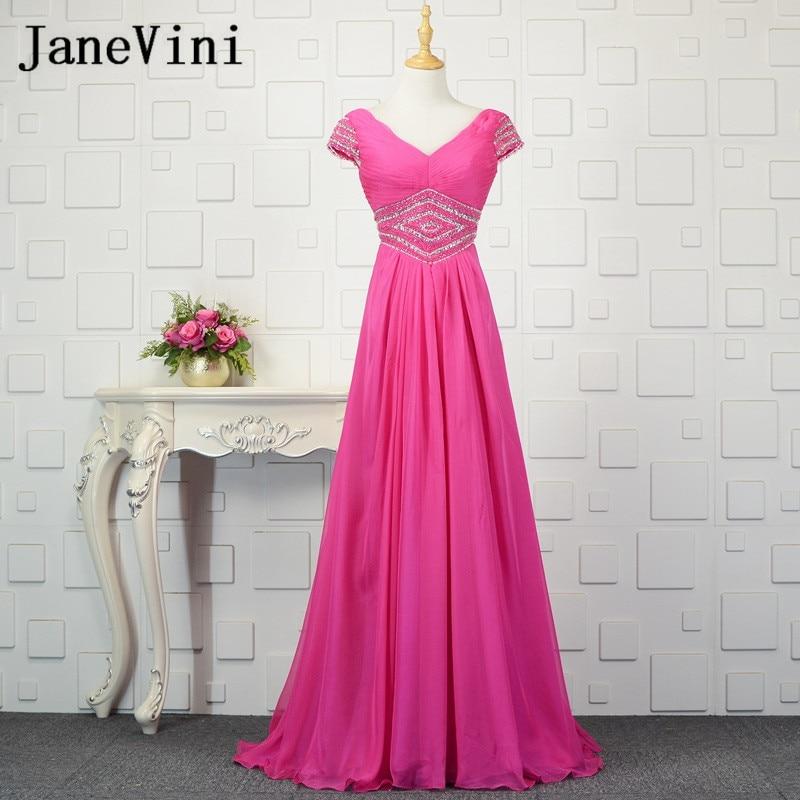 JaneVini Shiny Beads Fuchsia   Bridesmaids     Dresses   Long Chiffon Cap Sleeve Formal   Dresses   for   Bridesmaid   Women Wedding Party Gowns