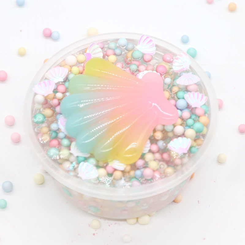 DIY Shell Unicorn Slime Supplies Macarons Ball Slime Toy Mucus Ball Cotton Mud Slime Fluffy Crystal Mud Relax Toy for Kids Gift