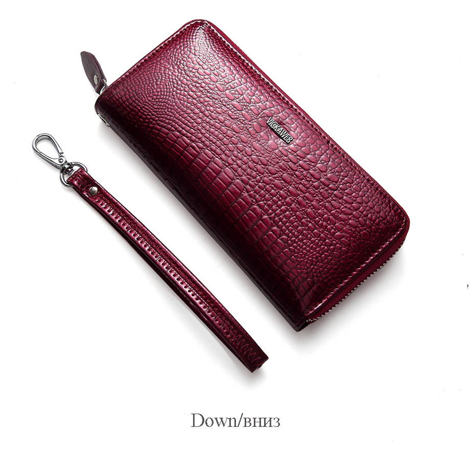 VICKAWEB Wristlet Wallet Purse Genuine Leather Wallet Female Long Zipper Women Wallets Card Holder Clutch Ladies Wallets AE38-015