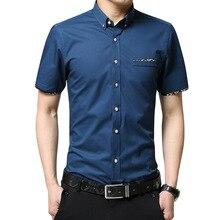 Camisa Masculina деловая Мужская Облегающая рубашка с коротким рукавом для мужчин 32