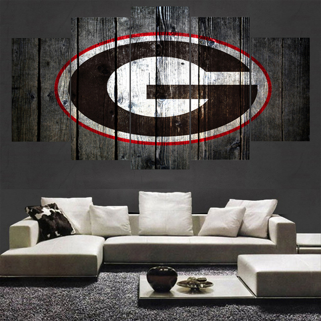 5 Panel Sport Georgia Bulldogs Logo Animal Prints Wall Home Decor Picture Canvas Painting Calligraphy For