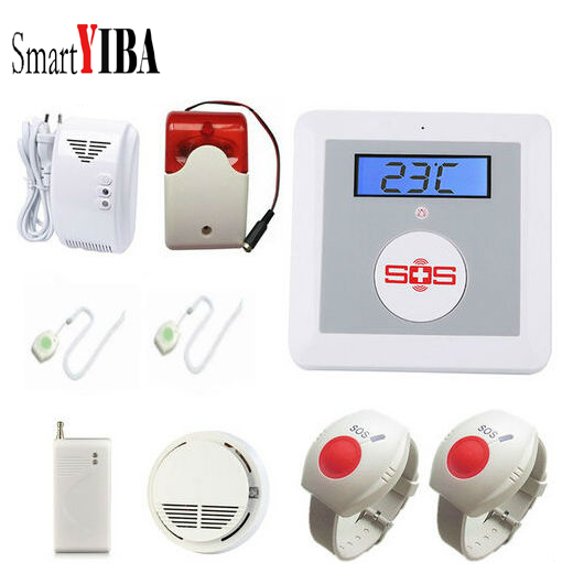 SmartYIBA APP Remote Control Senior Telecare Wireless GSM SMS Home Security Alarm System Emergency SOS Call For Elderly Care ce rohs wireless gsm emergency alarm system medical aid alarm system 16 defense zone emergency aid for elderly children