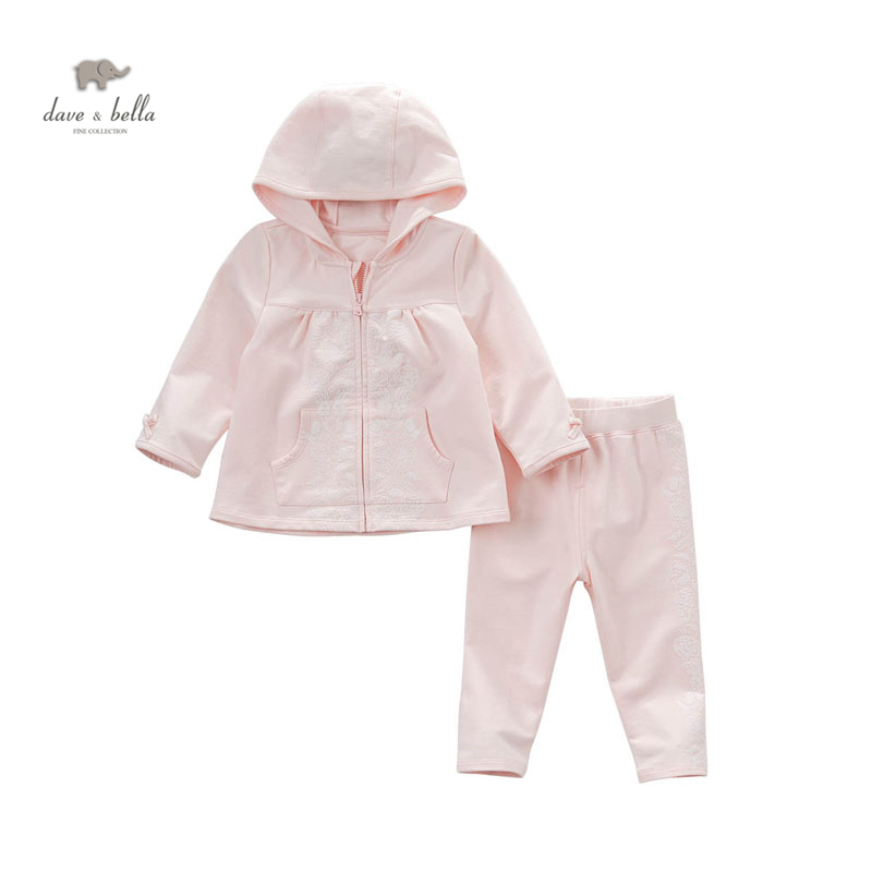 DB4796 dave bella spring baby girl fancy clothing sets hooded sets infant clothes toddle pink children girls sets kids cloth