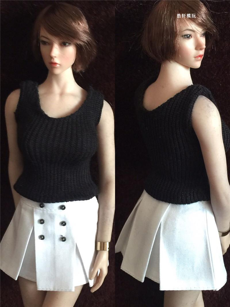 1/6 Scale Black Knitted Vest and White Skirt Clothes Set Model for 12'' Female Figures Bodies new sexy vs045 1 6 black and white striped sweather stockings shoes clothing set for 12 female bodys dolls