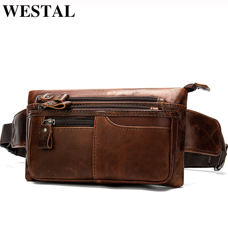 WESTAL Men's Waist Bag For Phone Male Fanny Pack Men's Genuine Leather Belt Bags Men Leather Waist Pack  Money Belt Hip Bag 8953