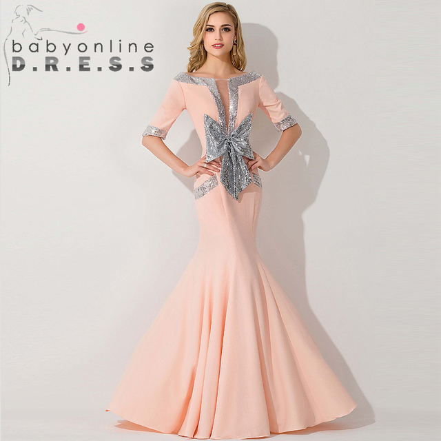 Sequined Coral Formal Sleeve Mermaid Prom Dresses 2015 Bow Pink Long ...