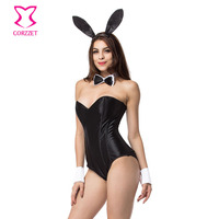 Black Satin and Mesh Boned Teddy Lingerie Sexy Bunny Costume Cosplay Maid Deguisement Halloween Costumes For Women Adults